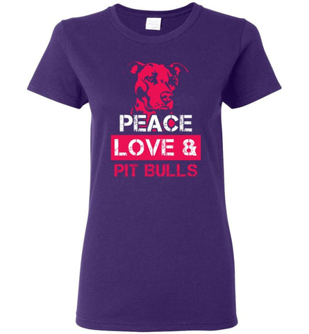 Dog Lovers Shirt Peace Love And Pit Bulls Women Tee - Purple / M