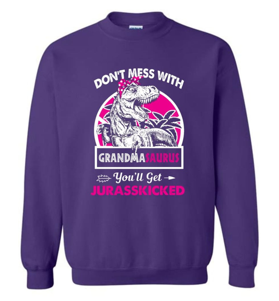 Don't Mess With Grandma Saurus - Sweatshirt - Purple / M - Sweatshirt