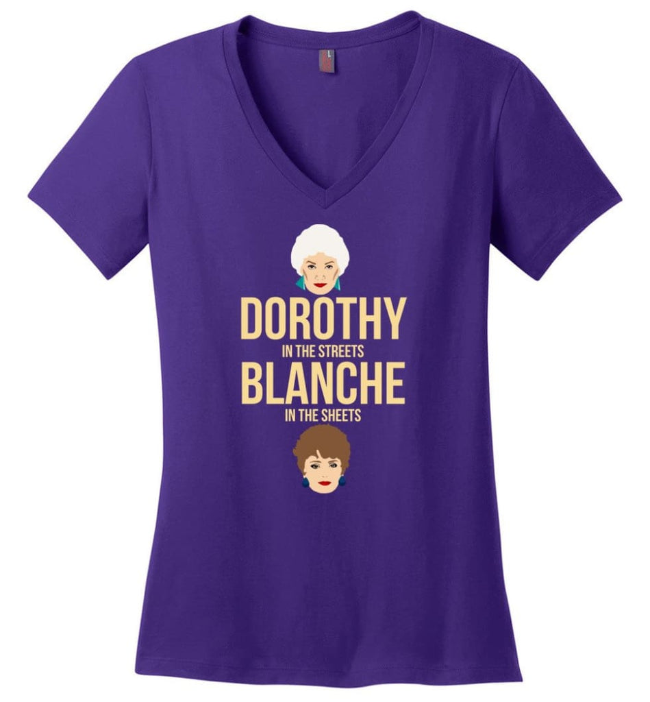 DOROTHY in the streets BLANCHE in the sheets Girls Shirt Golden Lovers - Ladies V-Neck - Purple / M