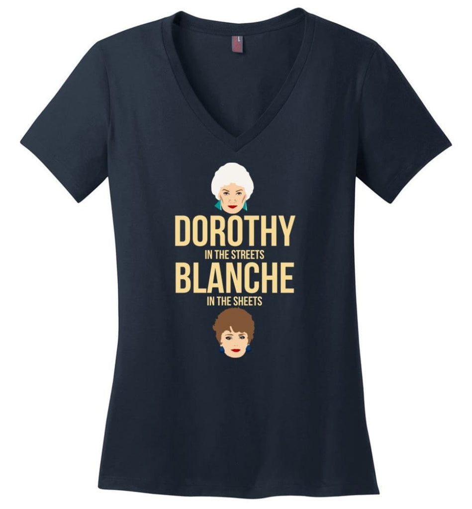 DOROTHY in the streets BLANCHE in the sheets Girls Shirt Golden Lovers - Ladies V-Neck - Navy / M