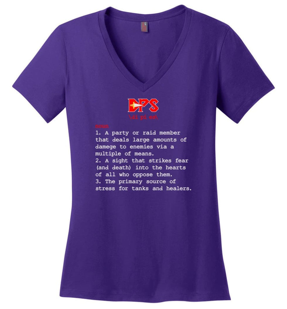 Dps Definition Dps Meaning Ladies V-Neck - Purple / M