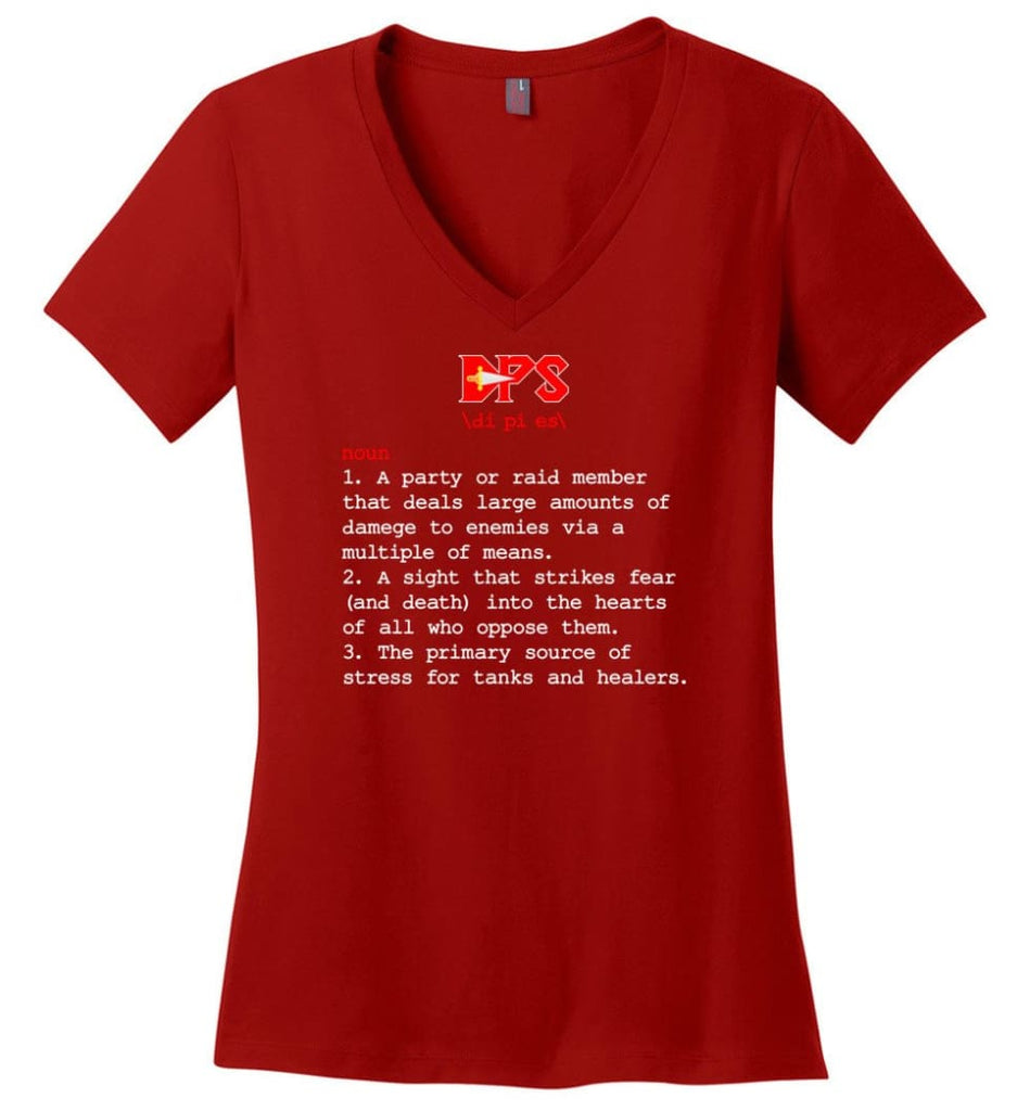 Dps Definition Dps Meaning Ladies V-Neck - Red / M