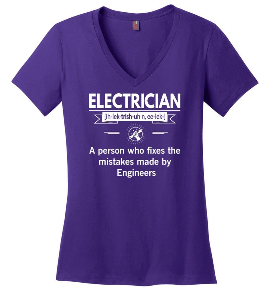 Electrician Definition Funny Electrician Meaning Ladies V-Neck - Purple / M