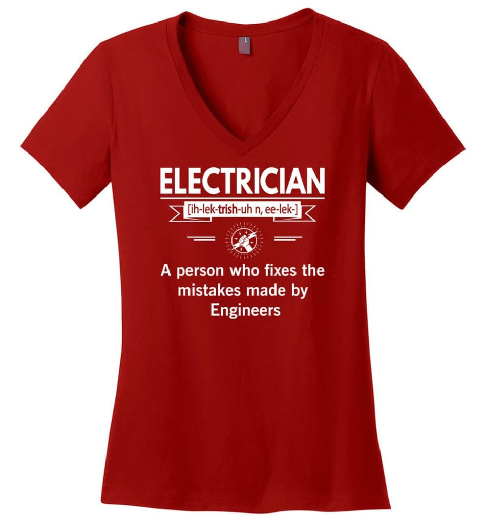 Electrician Definition Funny Electrician Meaning Ladies V-Neck - Red / M