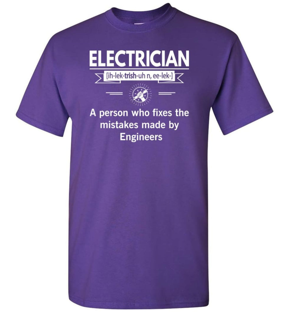 Electrician Definition Funny Electrician Meaning T-Shirt - Purple / S