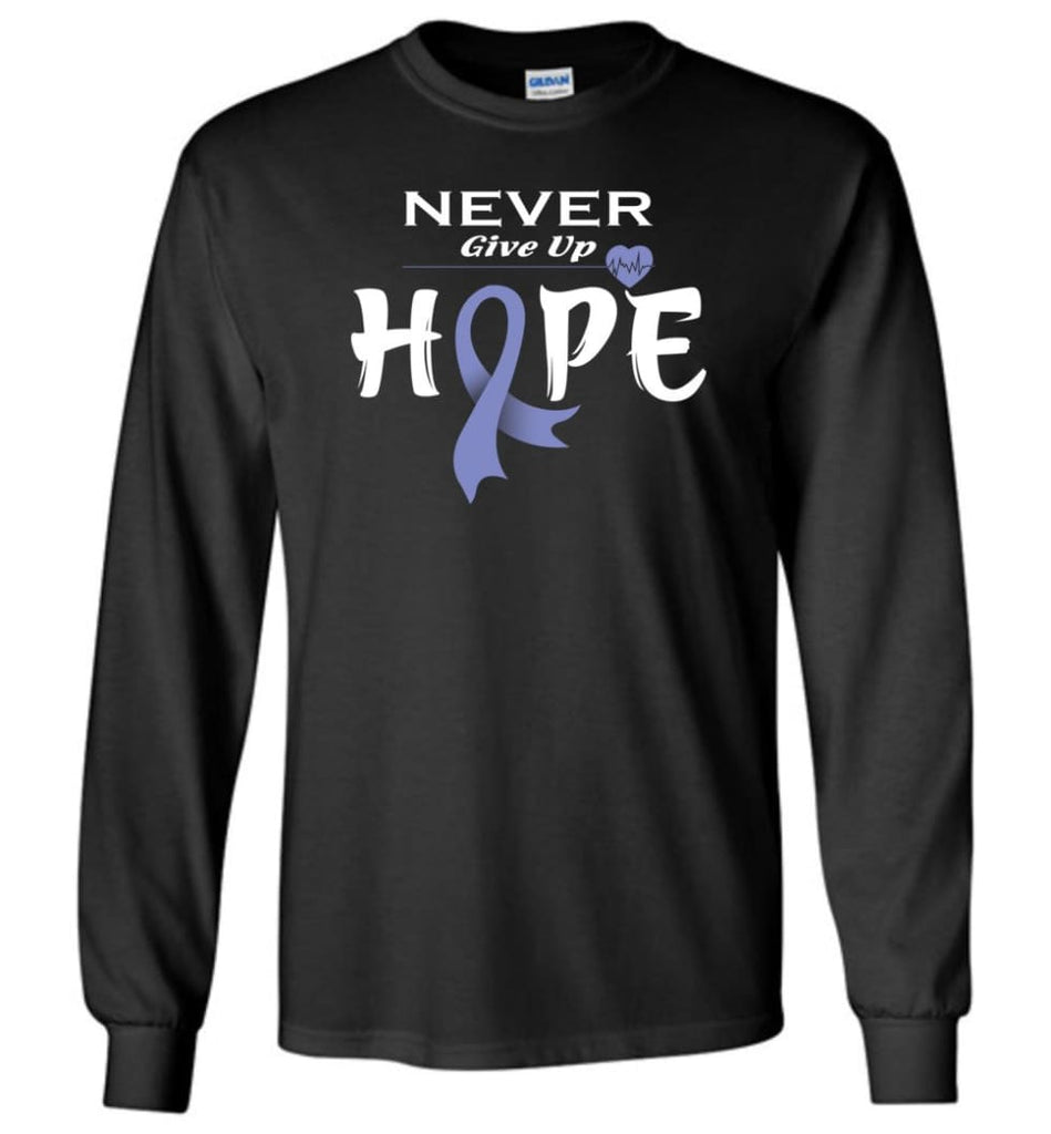 Esophageal Cancer Awareness Never Give Up Hope Long Sleeve T-Shirt - Black / M