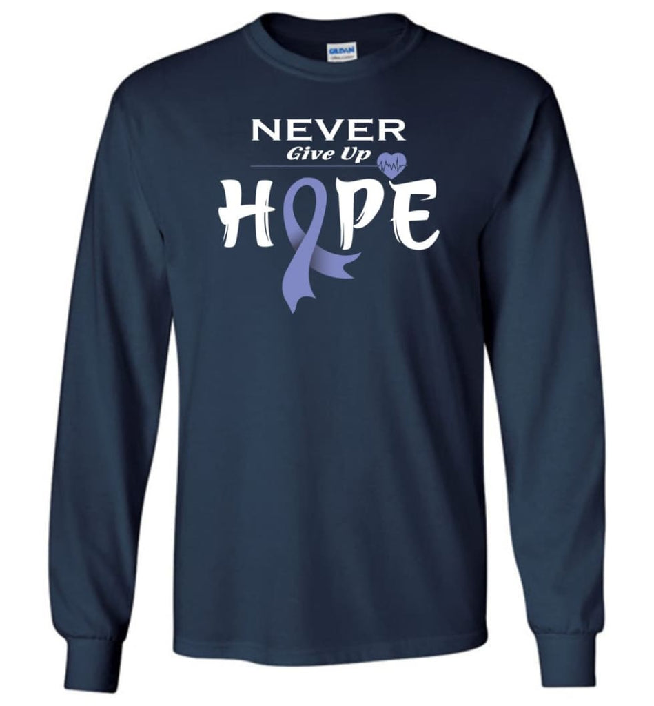 Esophageal Cancer Awareness Never Give Up Hope Long Sleeve T-Shirt - Navy / M