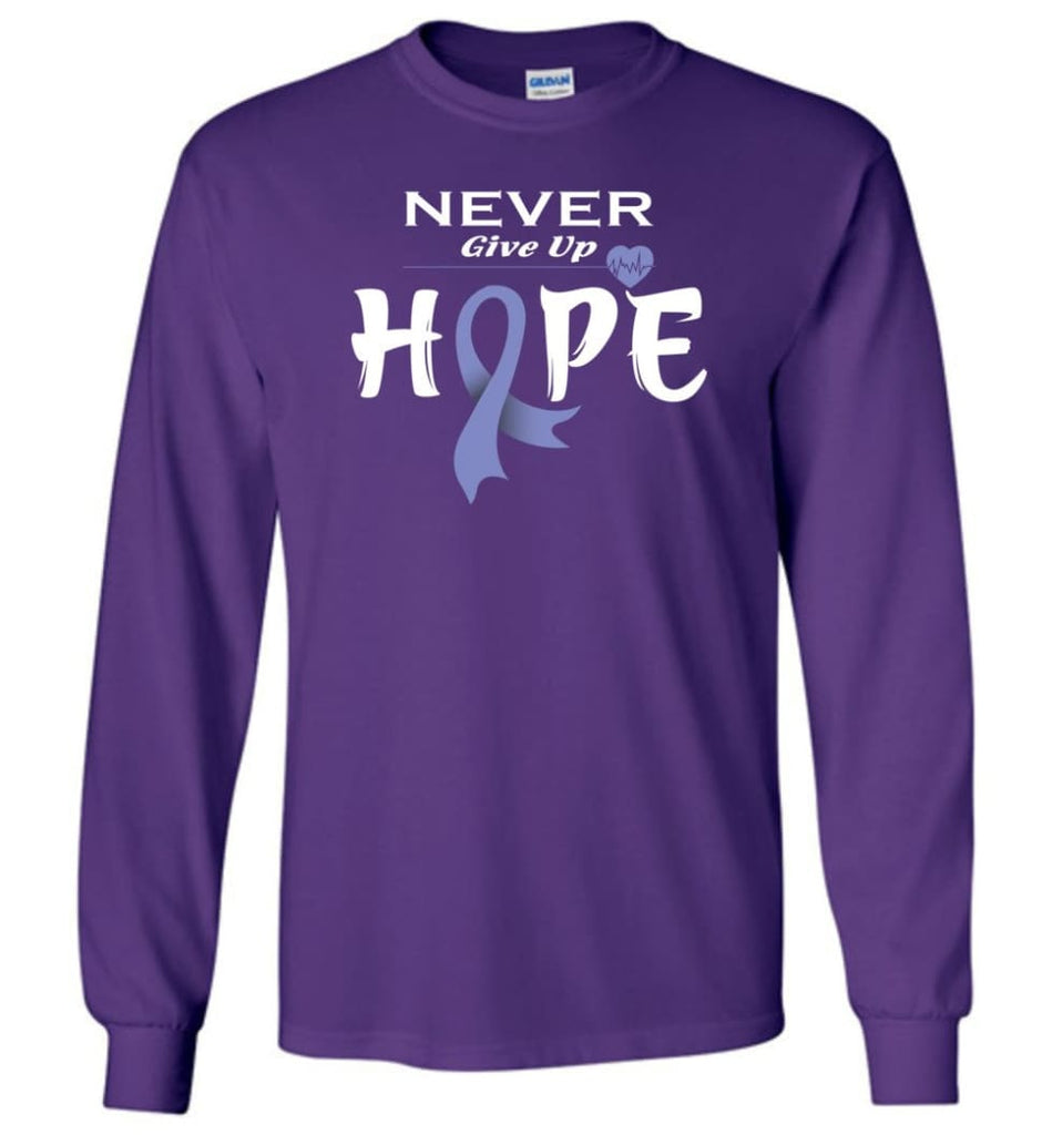 Esophageal Cancer Awareness Never Give Up Hope Long Sleeve T-Shirt - Purple / M
