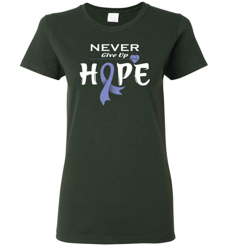 Esophageal Cancer Awareness Never Give Up Hope Women Tee - Forest Green / M