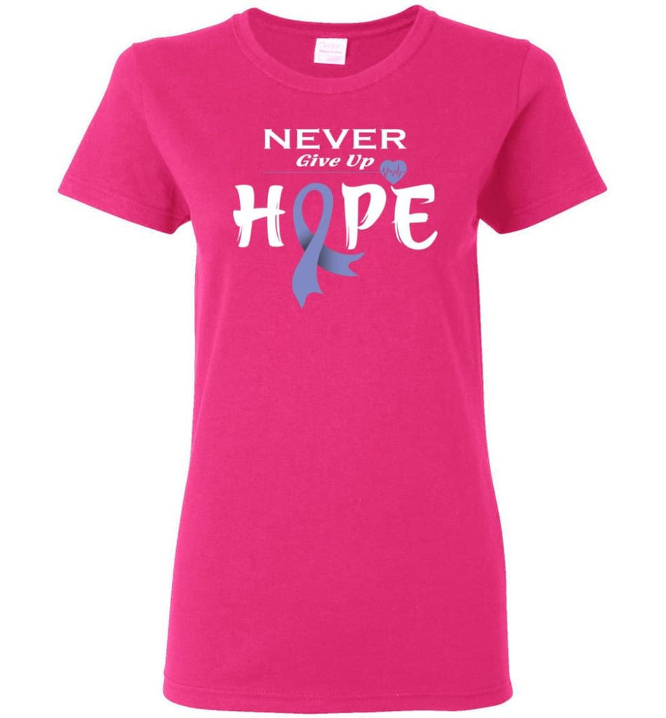 Esophageal Cancer Awareness Never Give Up Hope Women Tee - Heliconia / M