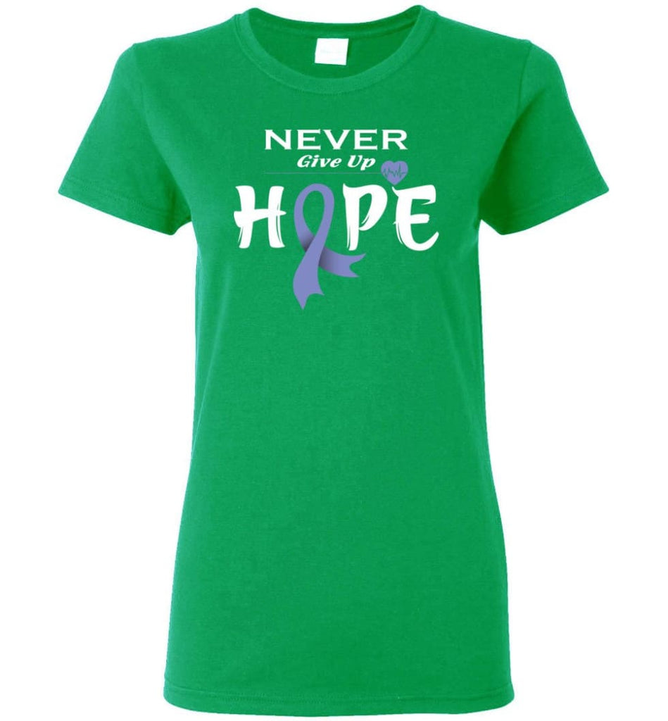 Esophageal Cancer Awareness Never Give Up Hope Women Tee - Irish Green / M