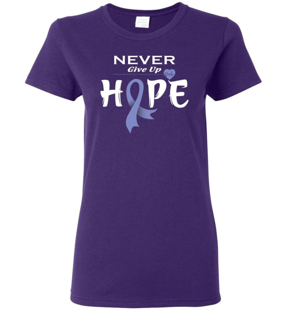 Esophageal Cancer Awareness Never Give Up Hope Women Tee - Purple / M