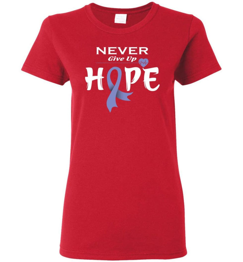 Esophageal Cancer Awareness Never Give Up Hope Women Tee - Red / M