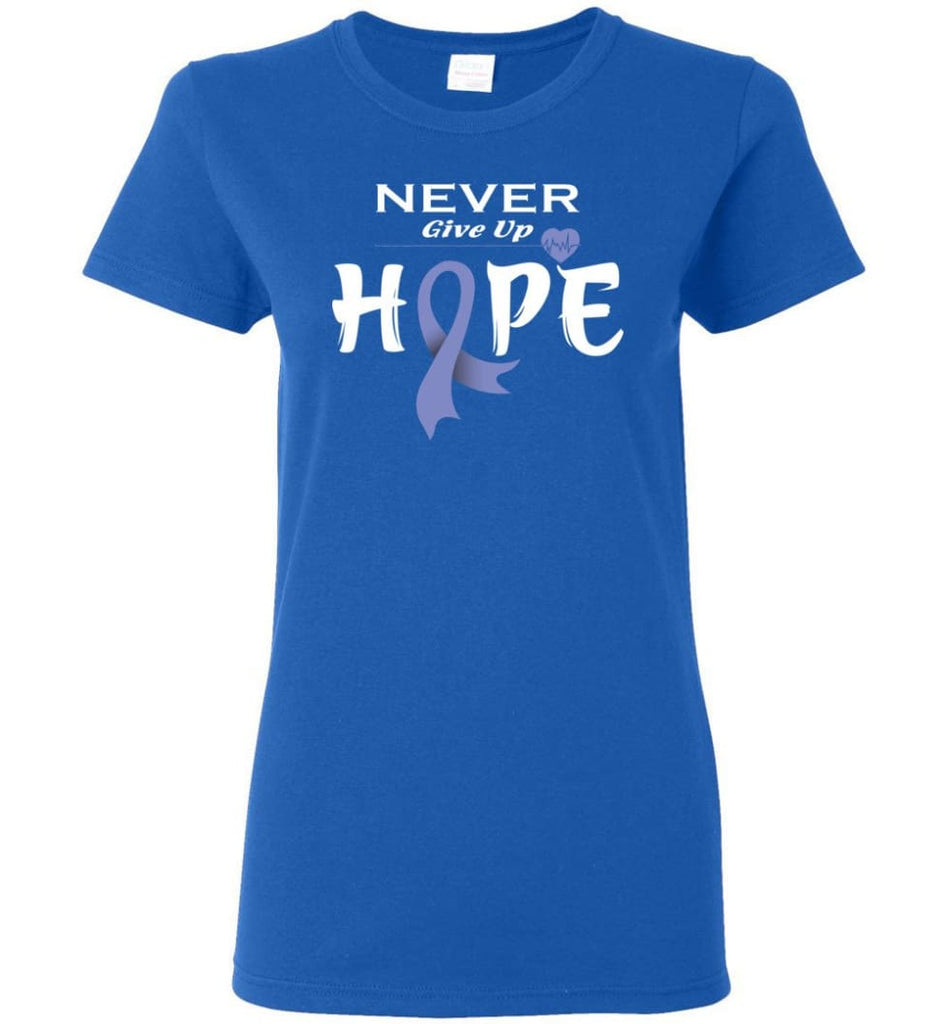 Esophageal Cancer Awareness Never Give Up Hope Women Tee - Royal / M