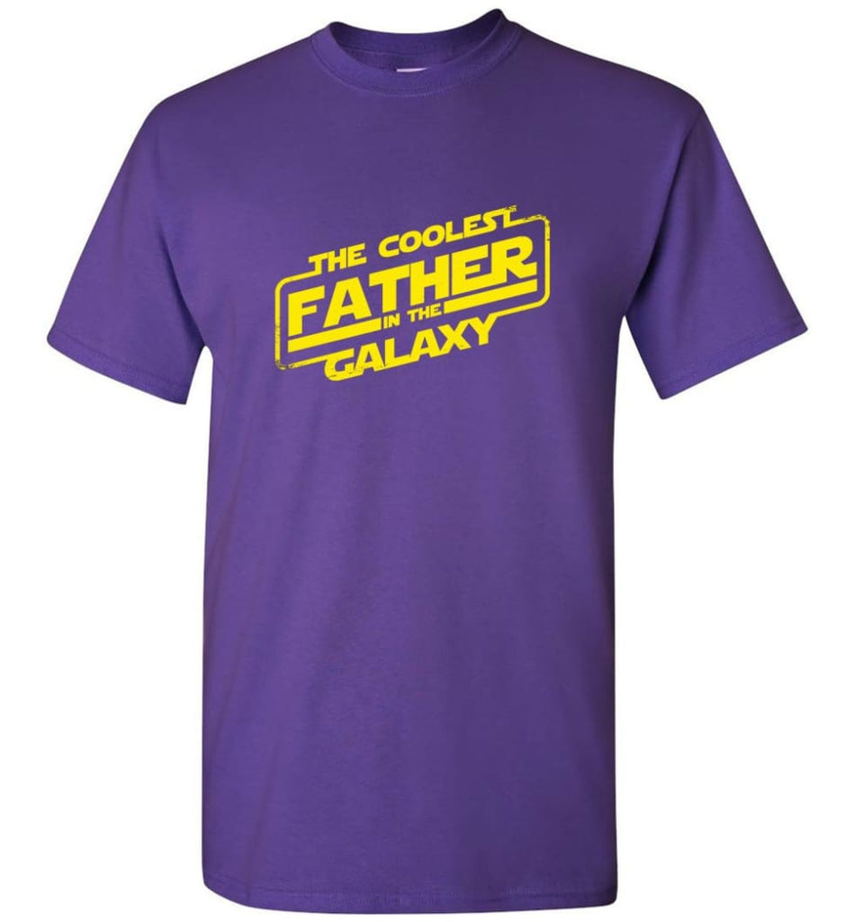 Father shirt The Coolest Father In The Galaxy - Short Sleeve T-Shirt - Purple / S