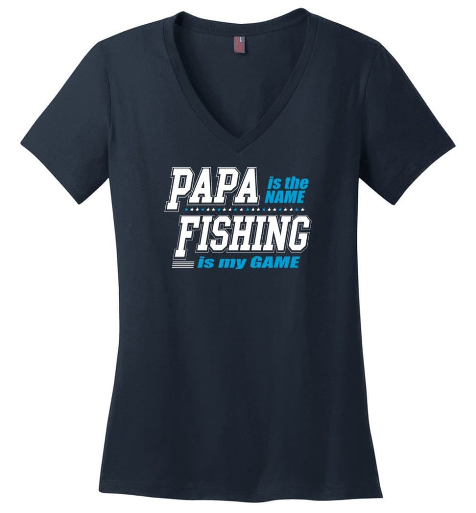 Father's Day Gift Shirt Papa Becoming Legend Is My Game Ladies V-Neck - Navy / M