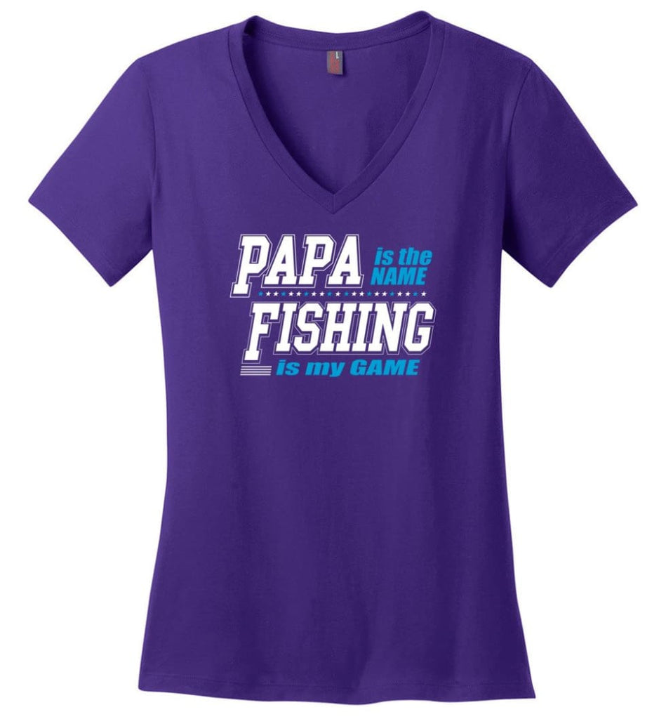 Father's Day Gift Shirt Papa Becoming Legend Is My Game Ladies V-Neck - Purple / M