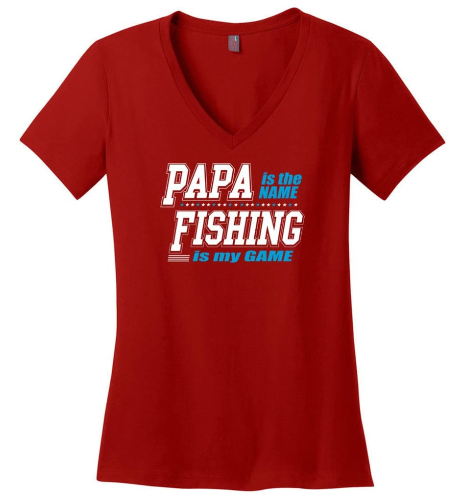 Father's Day Gift Shirt Papa Becoming Legend Is My Game Ladies V-Neck - Red / M
