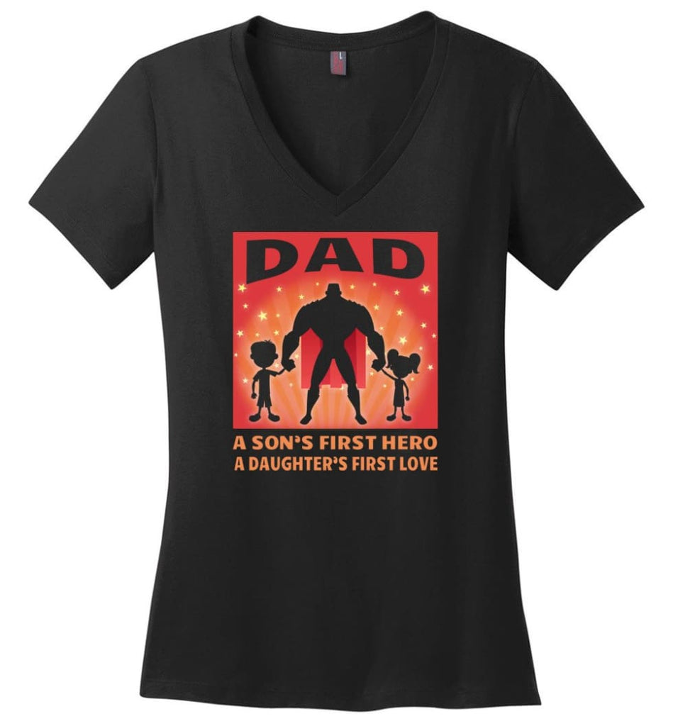 Father's Day Shirt My Dad My Hero My Guardian Angel Ladies V-Neck - Black / M