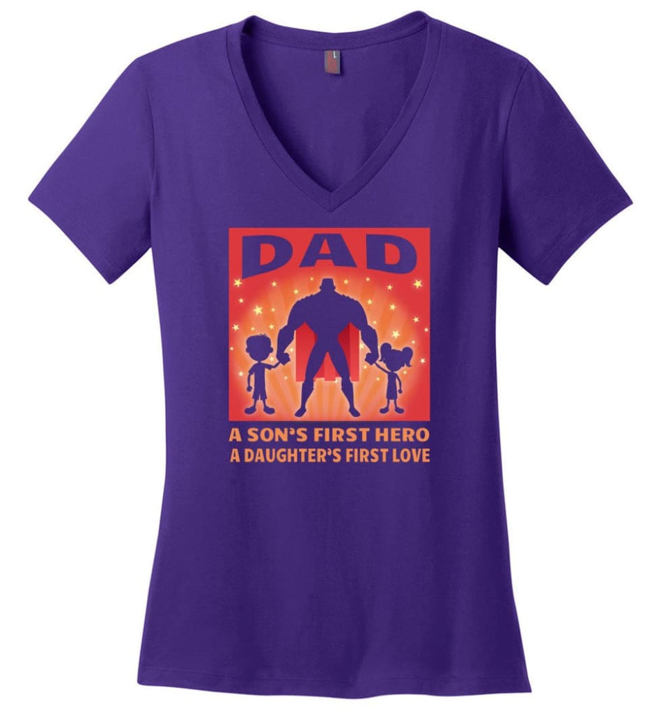 Father's Day Shirt My Dad My Hero My Guardian Angel Ladies V-Neck - Purple / M