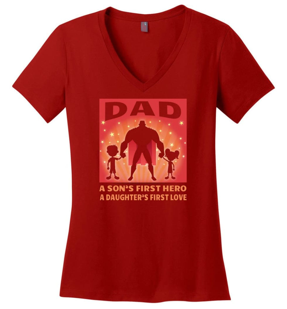 Father's Day Shirt My Dad My Hero My Guardian Angel Ladies V-Neck - Red / M