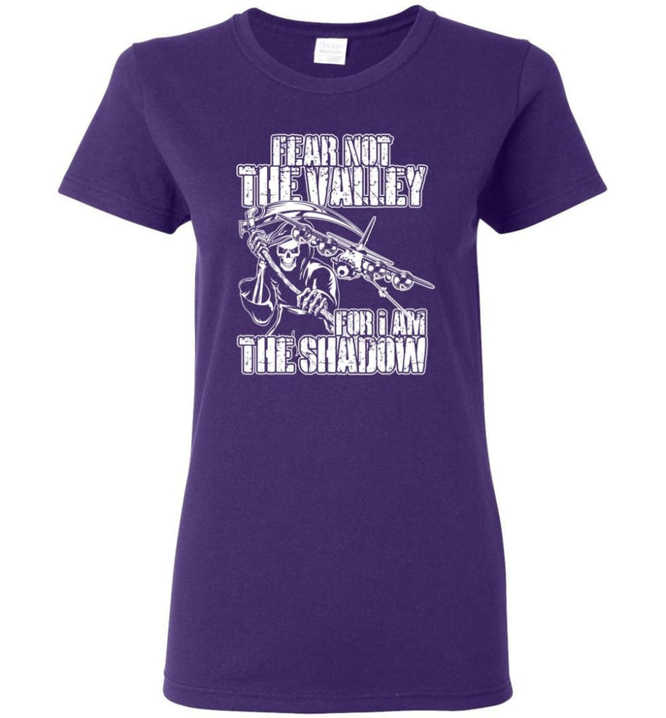 Fear Not The Valley For I Am The Shadow Hoodie T shirt Sweater - Women T-shirt - Purple / M