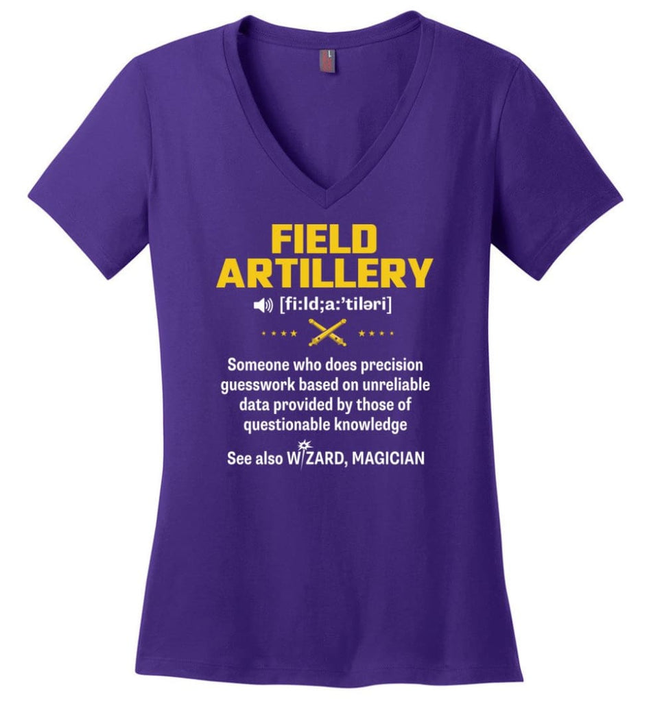 Field Artillery Definition Meaning Ladies V-Neck - Purple / M