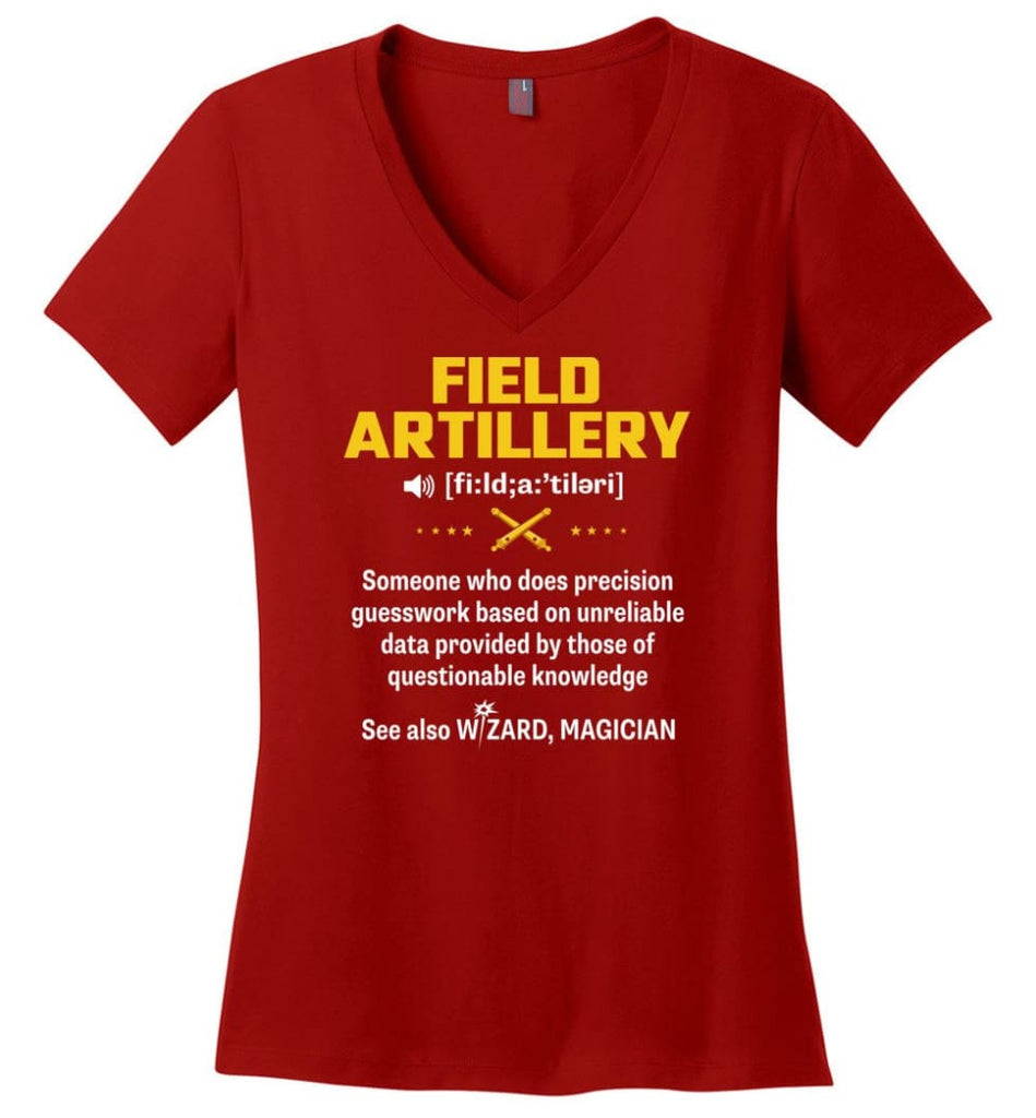 Field Artillery Definition Meaning Ladies V-Neck - Red / M