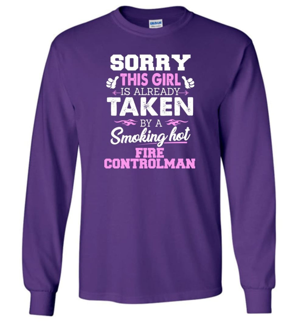 Fire Controlman Shirt Cool Gift for Girlfriend Wife or Lover - Long Sleeve T-Shirt - Purple / M