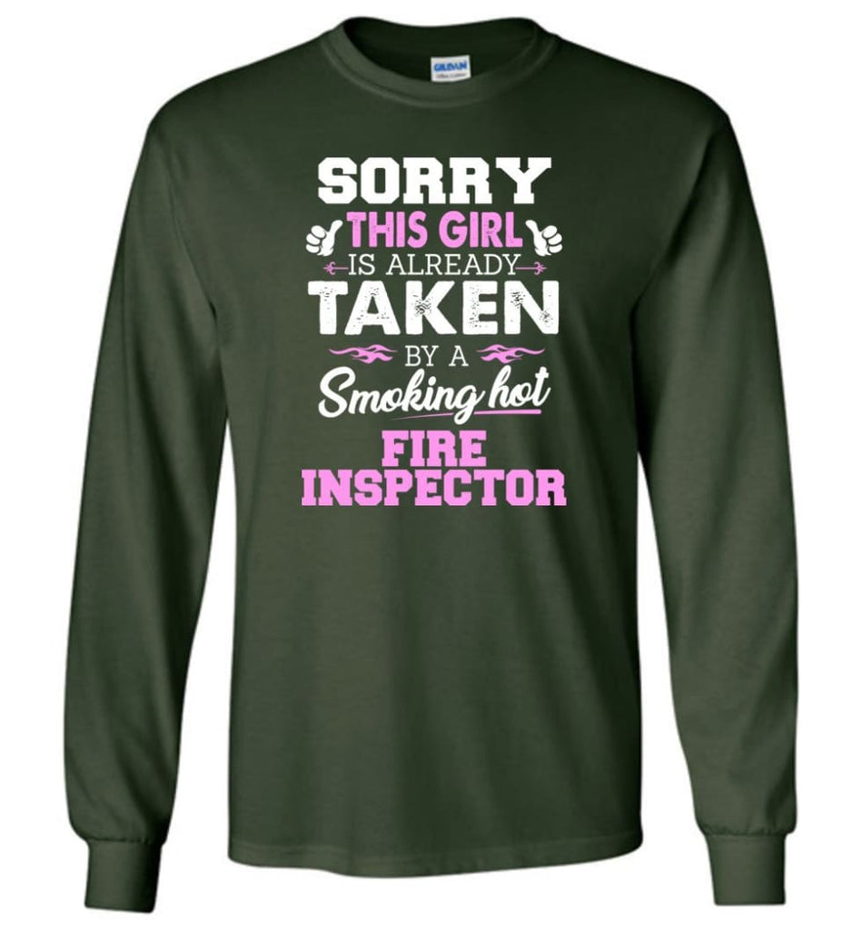Fire Inspector Shirt Cool Gift For Girlfriend Wife Long Sleeve - Forest Green / M
