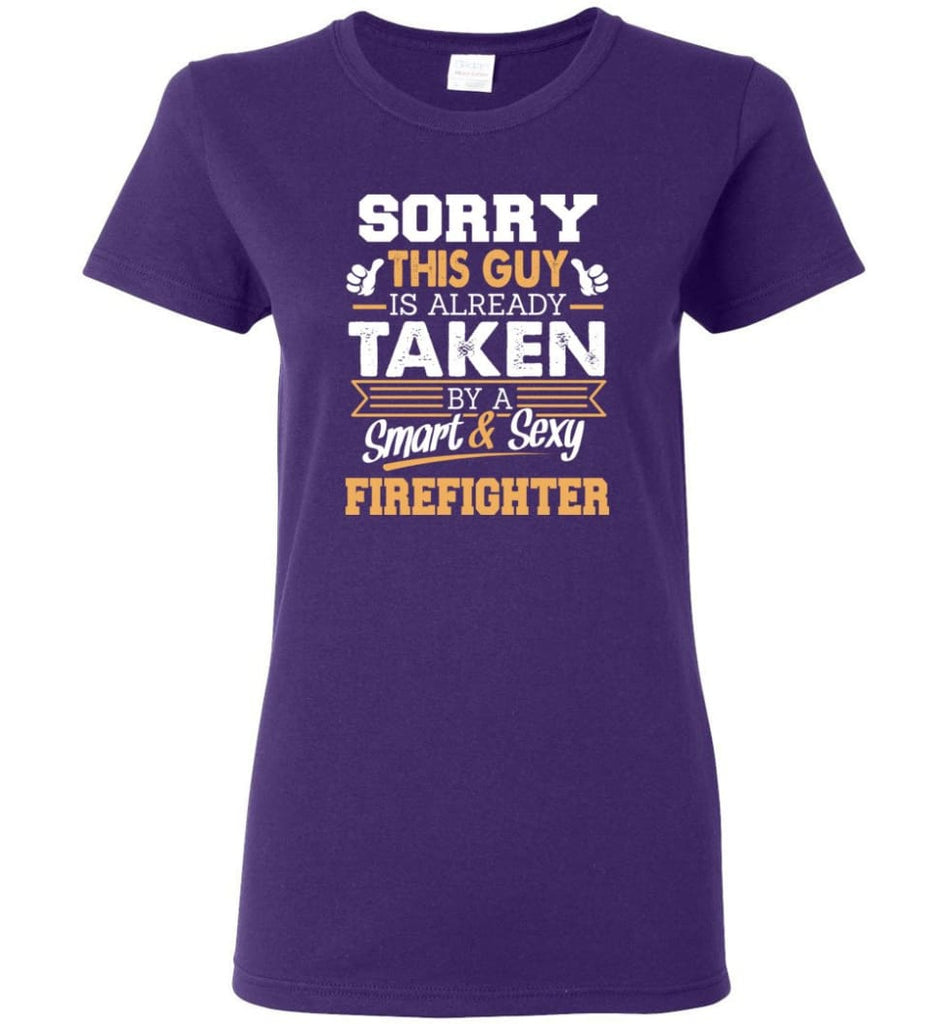 Firefighter Shirt Cool Gift for Boyfriend Husband or Lover Women Tee - Purple / M - 12