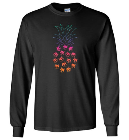 Funny and Cute Husky Pineapple Design - Long Sleeve - Black / M - Long Sleeve