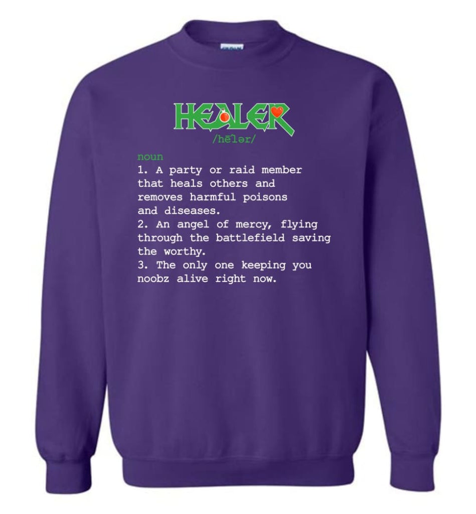 Funny Healer Definition Nerdy Healer Heroes T Shirts Gift For Gamer Sweatshirt - Purple / M
