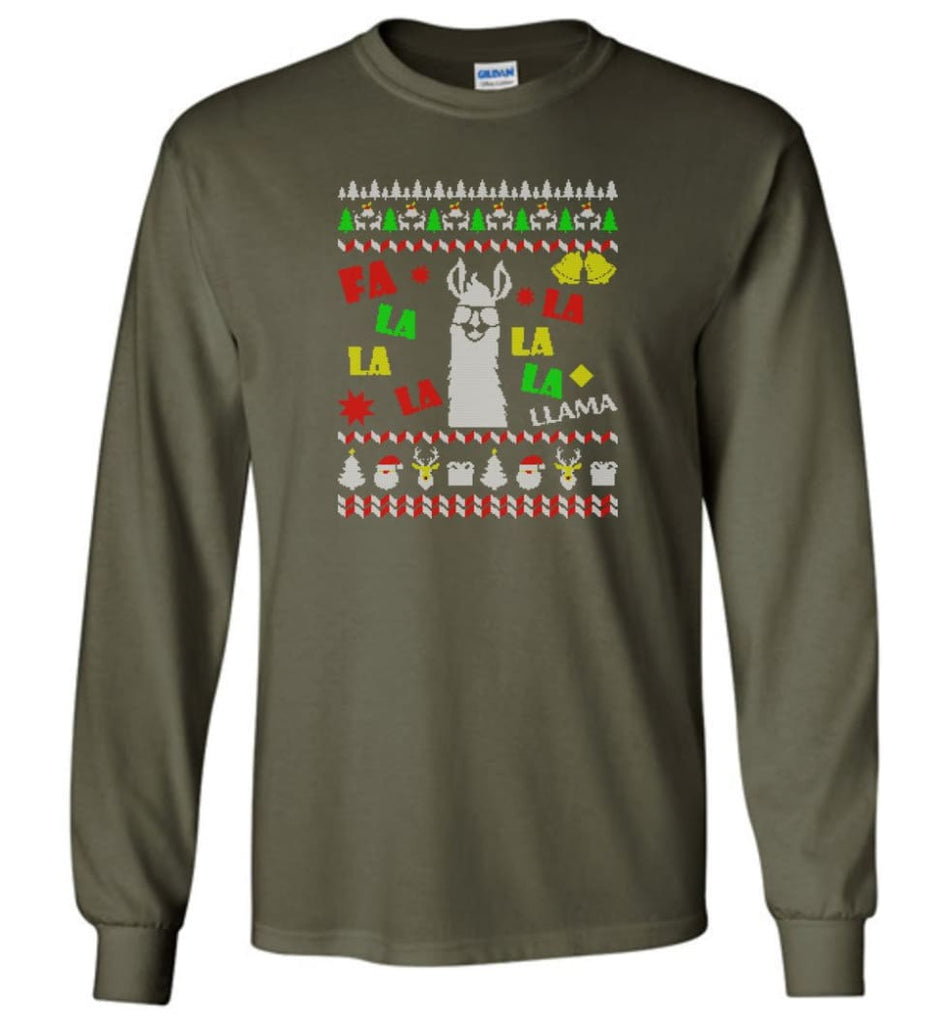 Funny Llama Ugly Llama Christmas Gift Hoodie Llamas Xmas Long Sleeve T-Shirt - Military Green / M