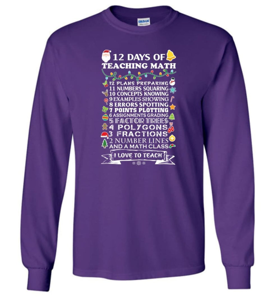 Funny Math Teacher Shirts Best Cool Good Gifts For Math Teachers Long Sleeve T-Shirt - Purple / M