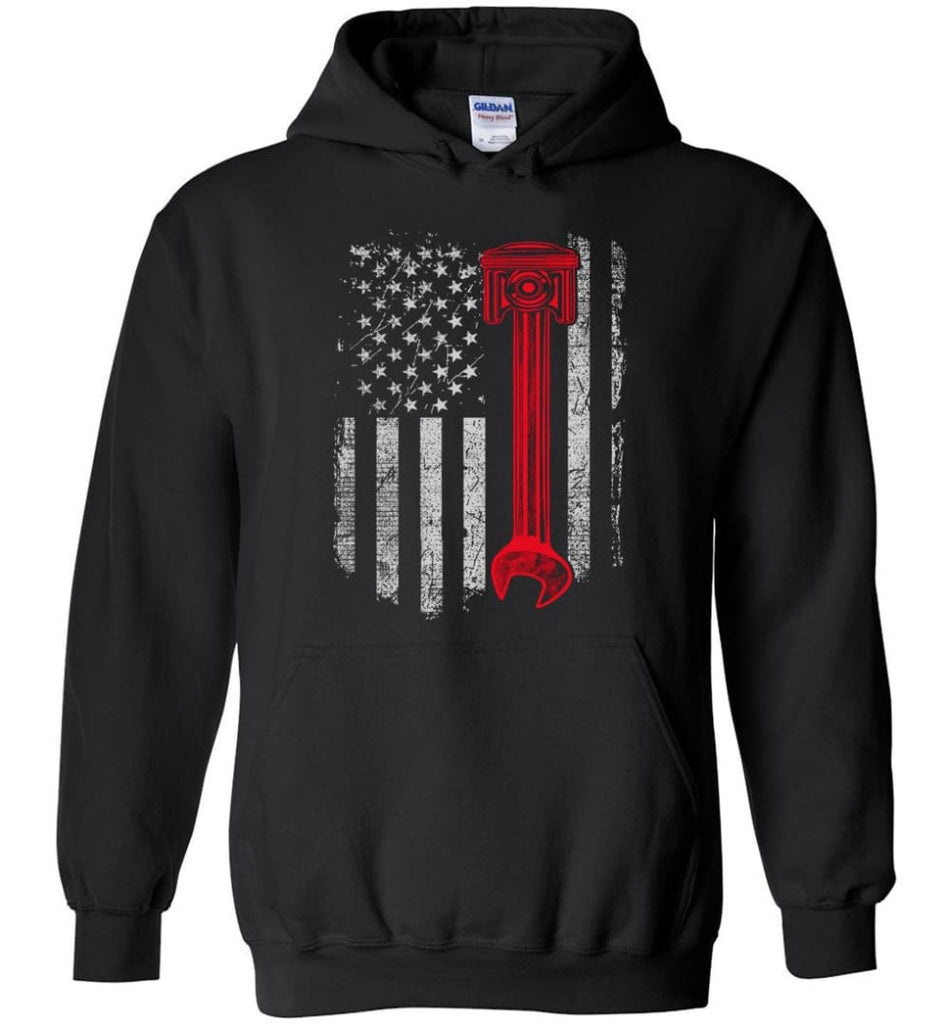 Funny Mechanic Shirt American Mechanic Shirt Presents For Diesel And Car Mechanics - Hoodie - Black / M
