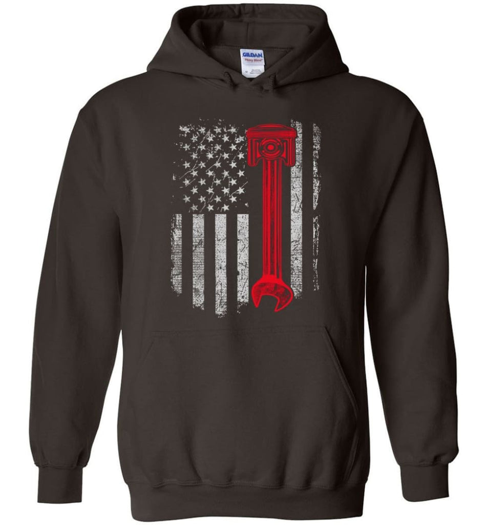 Funny Mechanic Shirt American Mechanic Shirt Presents For Diesel And Car Mechanics - Hoodie - Dark Chocolate / M