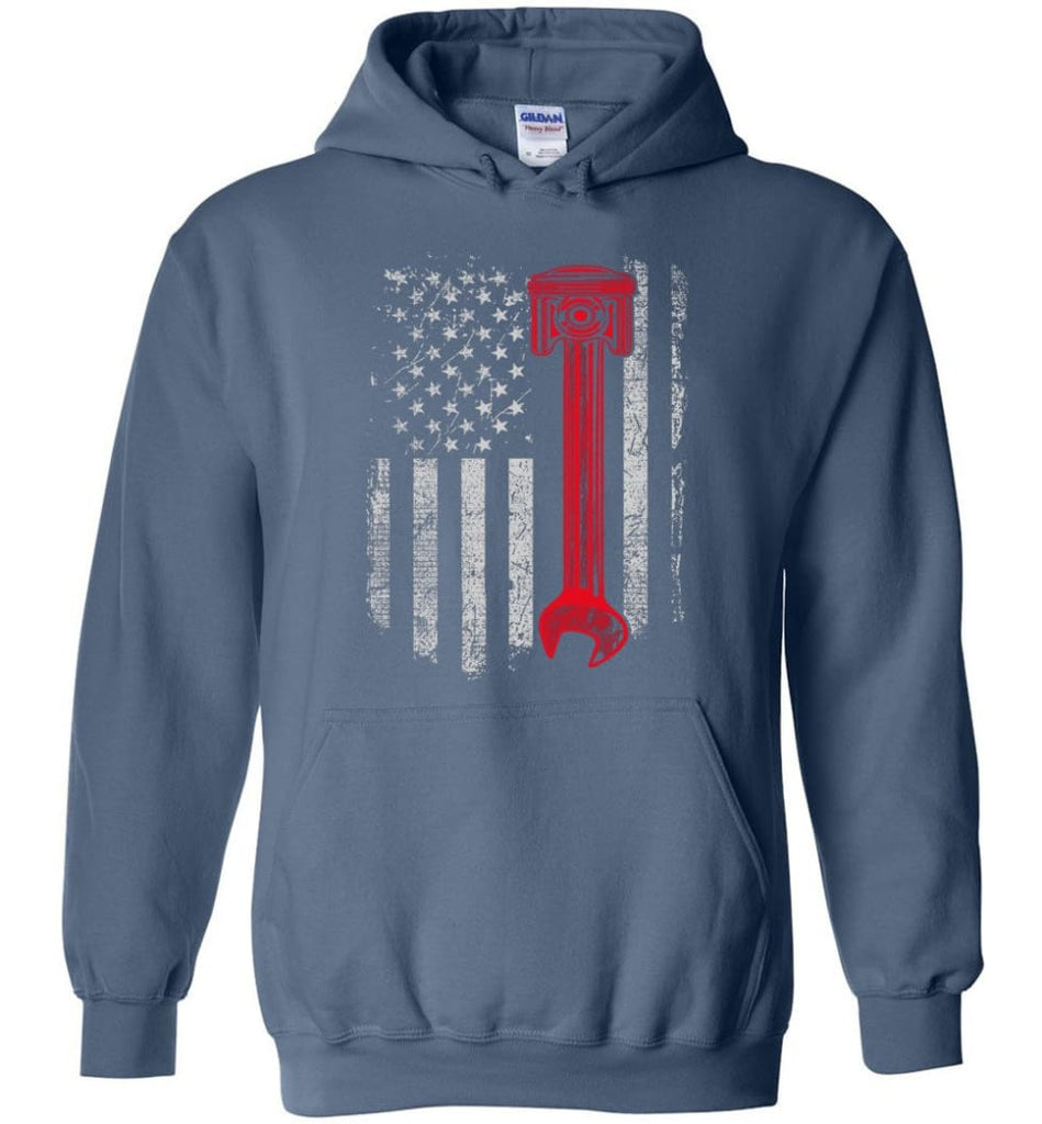 Funny Mechanic Shirt American Mechanic Shirt Presents For Diesel And Car Mechanics - Hoodie - Indigo Blue / M