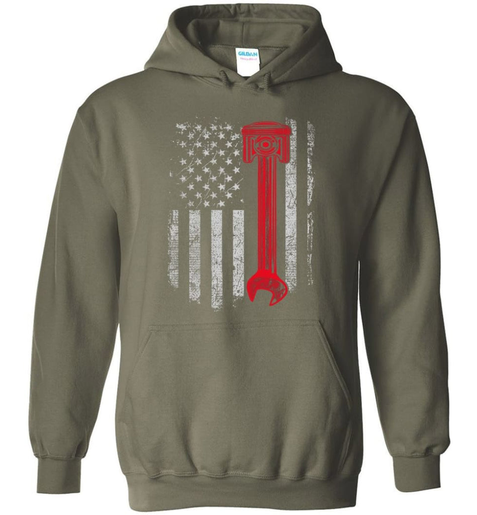Funny Mechanic Shirt American Mechanic Shirt Presents For Diesel And Car Mechanics - Hoodie - Military Green / M