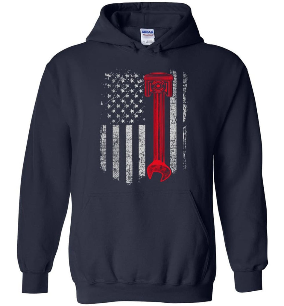 Funny Mechanic Shirt American Mechanic Shirt Presents For Diesel And Car Mechanics - Hoodie - Navy / M