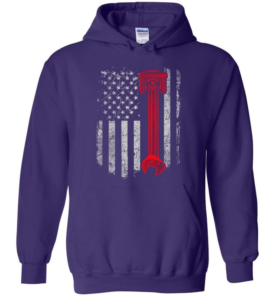 Funny Mechanic Shirt American Mechanic Shirt Presents For Diesel And Car Mechanics - Hoodie - Purple / M