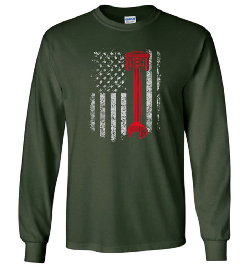 Funny Mechanic Shirt American Mechanic Shirt Presents For Diesel And Car Mechanics - Long Sleeve T-Shirt - Forest Green