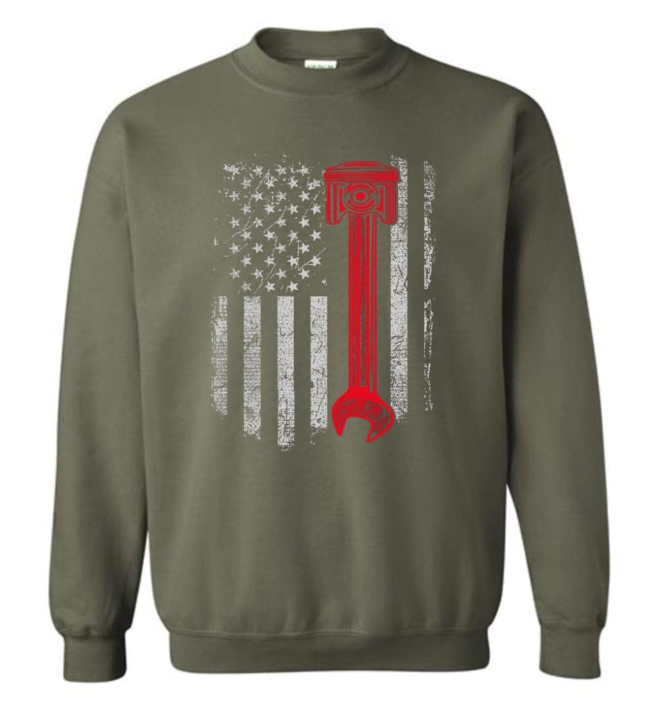 Funny Mechanic Shirt American Mechanic Shirt Presents For Diesel And Car Mechanics Sweatshirt - Military Green / M