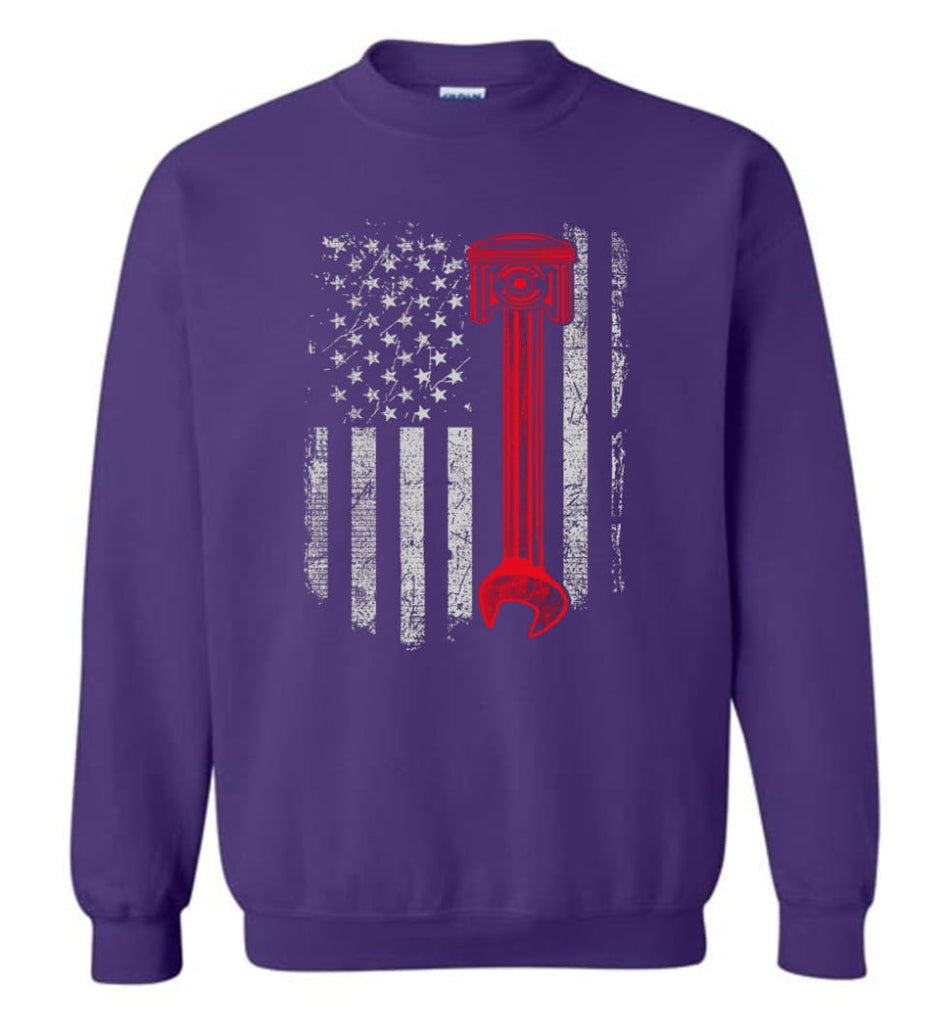 Funny Mechanic Shirt American Mechanic Shirt Presents For Diesel And Car Mechanics Sweatshirt - Purple / M