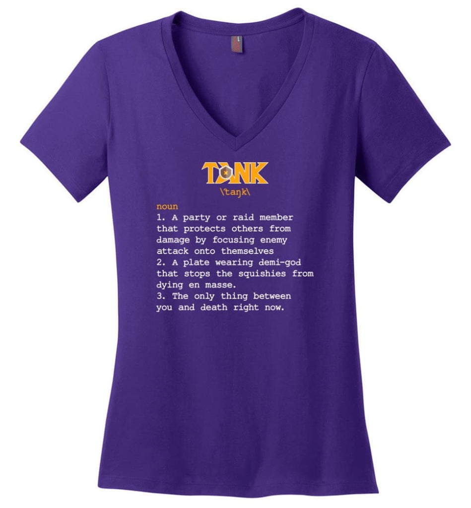 Funny Tank Definition Nerdy Tank Heroes T Shirts Gift for Gamer - Ladies V-Neck - Purple / M