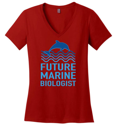 Future Marine Biologist Ladies V-Neck - Red / M