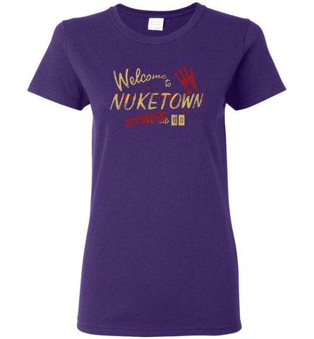 Geek Welcome to Nuketown 00 Zombies CoD Gaming Fans Ladies Shirt - Purple / S