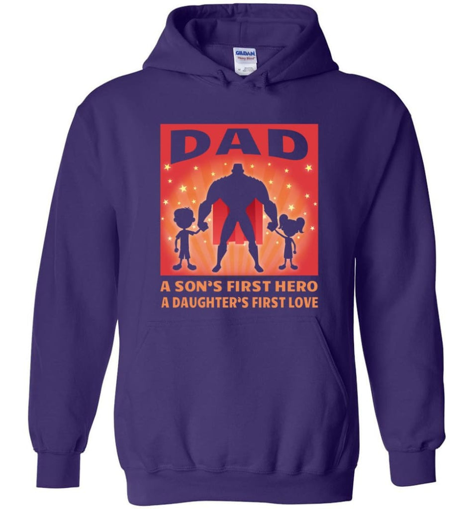 Gift for father dad sons first hero daughters first love - Hoodie - Purple / M