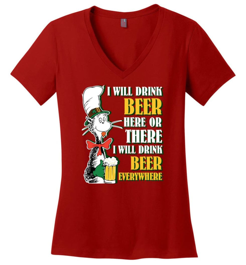 Gift Ideas For Father's Day Best Father Ever T shirt Ladies V-Neck - Red / M