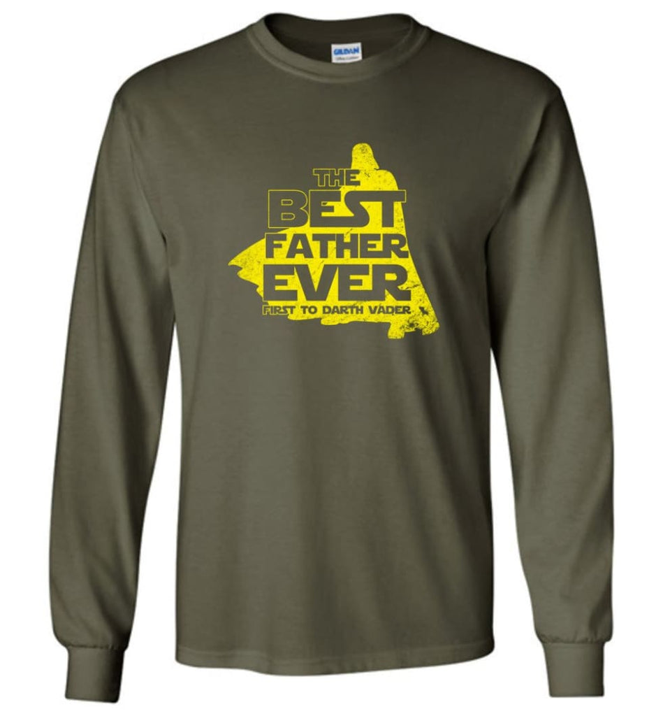 Gift Ideas For Father's Day Best Father Ever T shirt - Long Sleeve T-Shirt - Military Green / M